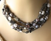 Bib labradorite gemstone necklace multi strand labradorite necklace in silver