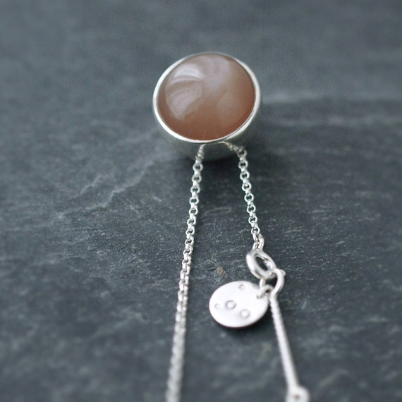 Light brown coral colored Moonstone solid silver ball necklace