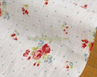 Shabby Chic Rose Garden, Neat Blue Dots On White - Japanese Cotton Fabric (1/2 Yard)