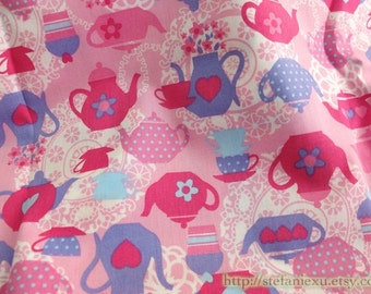 SALE CLEARANCE 1 Yard Chic Pink Polka Dots Lace Doily Afternoon Tea Teapot Collection - Cotton Fabric (1 Yard)