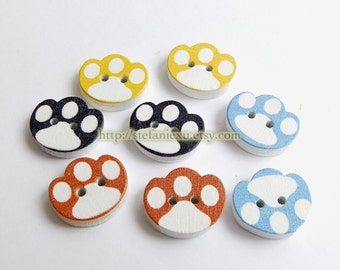 Wooden Buttons, Painted Color - Cute Colorful Puppy Paws (4PCS, Choose One Color)