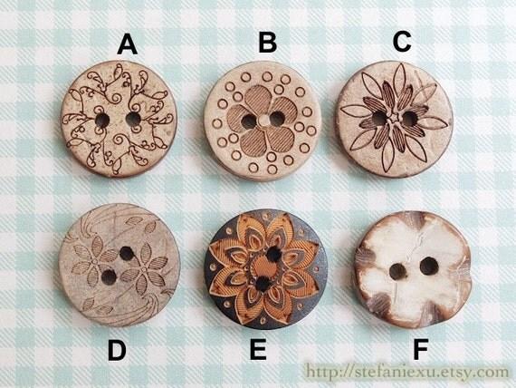 Natural Coconut Buttons - Marble Looking Five Petaled Flower, Sunshine, Cherry Blossom, Plum, Vintage Floral (4PCS, Choose Pattern)