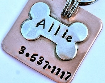 Pet id tag / Copper with Sterling Bone