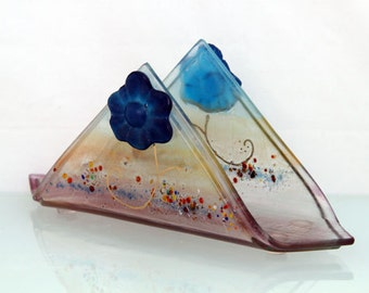 Napkin holder blue casting flower on Orange Brown Background  Fused glass art napkinholder,  letter holder,memo holder