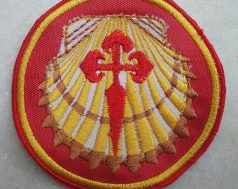 1 red Camino Patch, Santiago de Compostela Patch, Pilgrim badge, sew on patch for back pack, Camino De Santiago Patches