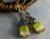 Vintage aquamarine and lemony-lime givre earrings, vintage style earrings, fleur d'lis