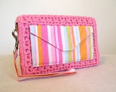 Pink and sherbet stripe organizer wallet wristlet or clutch
