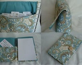 Coupon Organizer / Budget Organizer Holder and List Taker Set -Pretty Green Paisley- OR -Pick Your Fabric - GIFT SET
