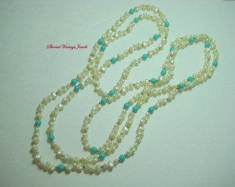 Art Deco Flapper Necklace Baroque Pearls and Turquoise Beads 33 inch Length Vintage Beauty