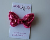 SALE - Girls/Baby Bright Pink Sequin Butterfly Hair Clip