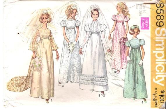 Vintage regency style wedding dress sewing pattern simplicity for Regency style wedding dress