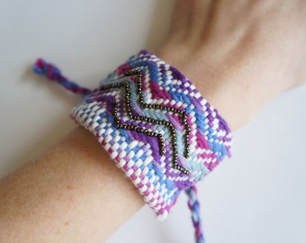 SALE!! Handwoven Purple, Blue, and Fuchsia Beaded Chevron Cuff Bracelet (original price: 42.00)