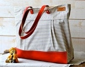 WATER PROOF Diaper bag Best Seller / Nautical Tote Bag / Messenger bag/ Leather tote  STOCKHOLM Gray and ecru nautical stripe/10 Pockets
