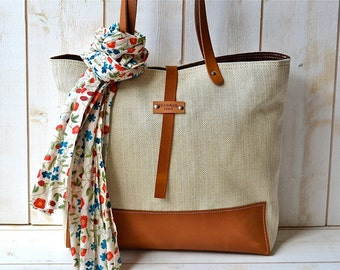BEST SELLER Linen tote bag Herringbone cotton Eco friendly ORGANIC  Medium  Natural French  tote bag brown Leather strap / Market tote Bag