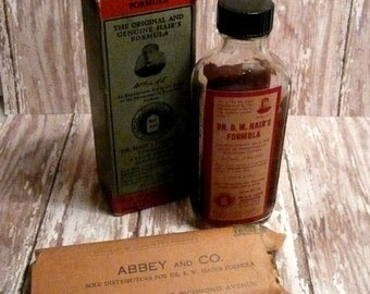 Antique Dr. B. W. Hair's Formula for Bronchial Asthma Bottle Box and Reorder Postcard