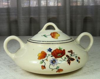 Vintage Ceramic Serving Bowl with Flowers