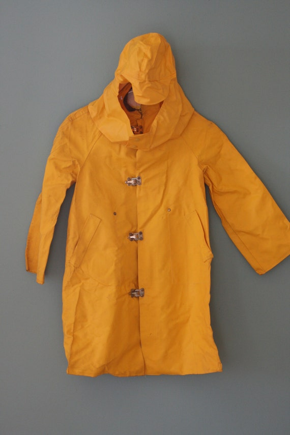 Vintage Yellow Weatherite Rain Coat For Kids