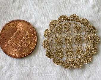 1:12 Lace Doily Sepia Brown - Handmade Scale Miniature - Shabby Chic French Cottage ***Free Shipping***