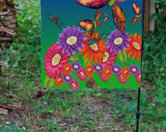 Butterflies, Dragonflies  and Daisies Garden Flag from art. Available in 2 sizes