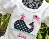 Girls Personalized Appliqued Birthday Whale on RUFFLED TEE
