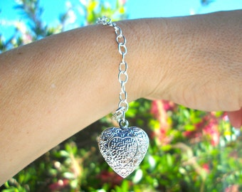Silver Heart Bracelet, love locket bracelet, simple silver chain bracelet, embossed silver heart jewellery