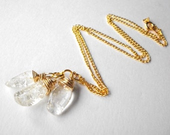 Quartz crystal necklace, yellow crackle quartz trio wire-wrapped on gold plated chain