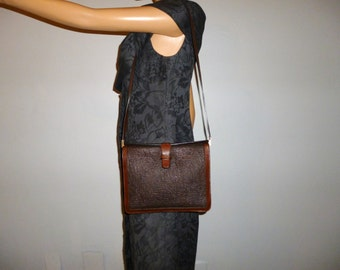 "Vintage  - Authentic Franco Pugi Firenze -Textured - Brown - Leather - Bag -  length 10  x  height  8"" x  width  1 expands to 4"