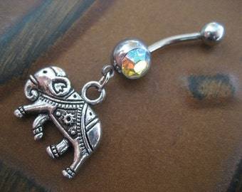 Belly Button Ring Jewelry, Elephant Belly Button Ring- Choose Your Color Charm Dangle Navel Piercing Jewelry Red Pink Opal Belly Button Ring