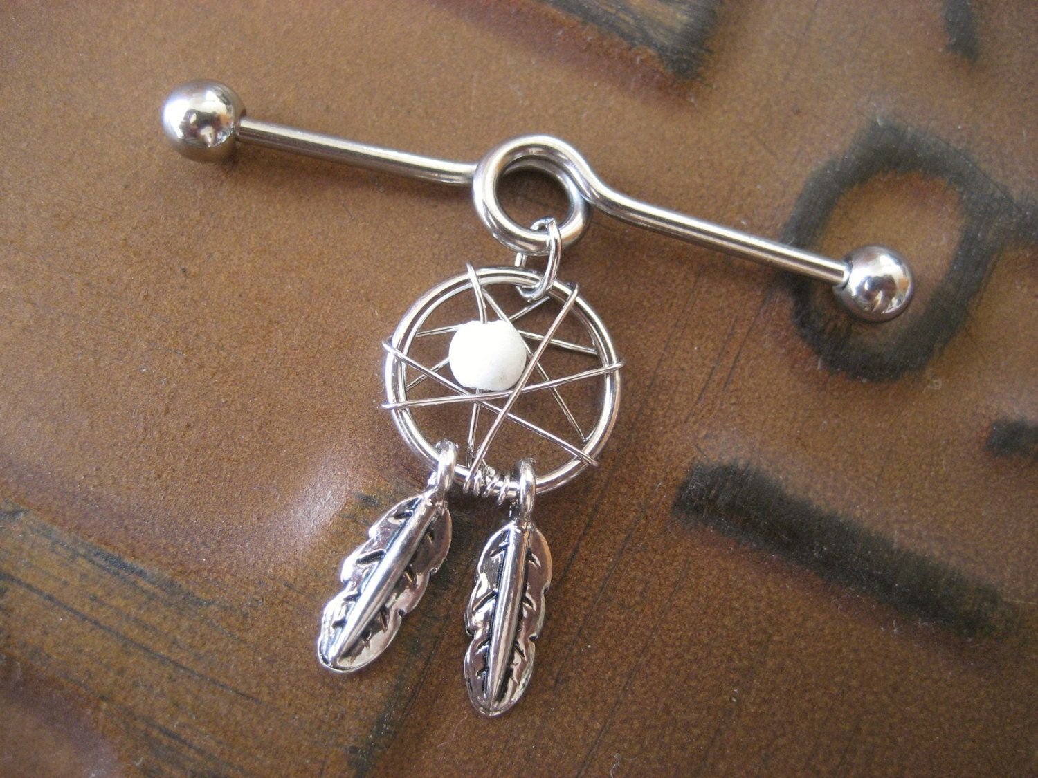 industrial piercing barbell catcher charm dangle white
