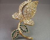Vintage Sparkling Pave Crystal Rosebud Brooch