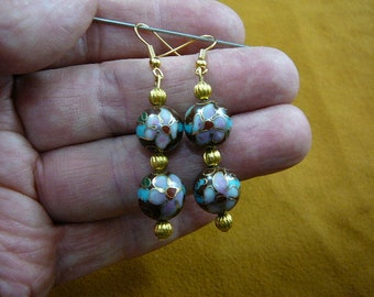 Chocolate brown with pink flower 12 mm Cloisonne two bead gold dangle earring pair EE-613-41