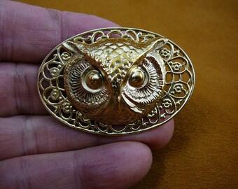 medium Owl head night bird on textured oval filigree scrolled brass pin pendant  I love owls lover birds B-Bird-532