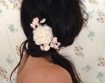 Bridal Silk Flower Peony Pink Hair Flowers