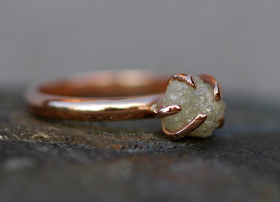 Conflict Free Rough Large Diamond Engagement Ring in Recycled 14k Rose, Yellow, or White Gold- Size D 1.25 Carat Diamond