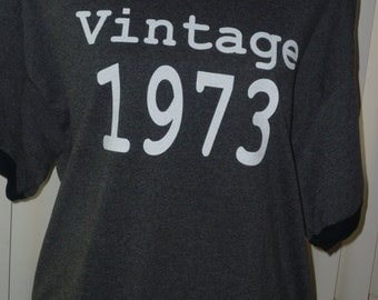 Vintage 1973 Adult 40th Birthday Ringer Shirt Great Gift