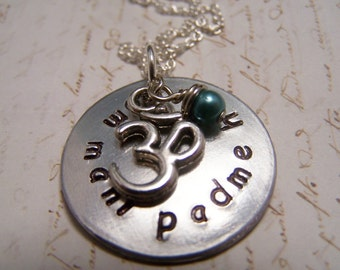 Om Mani Padme Hum Necklace with om symbol charm and blue freshwater pearl