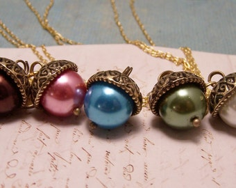 EIGHT Personalized Pearl Acorn Necklaces in Your Choice of Colors. Bridesmaid. Friendship. Love. Peter Pan. Wendy. Kiss. Set