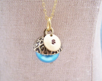 ONE Personalized Pearl Acorn Necklace in Brilliant Blue. Bridesmaid. Friendship. Love. Peter Pan. Wendy. Kiss