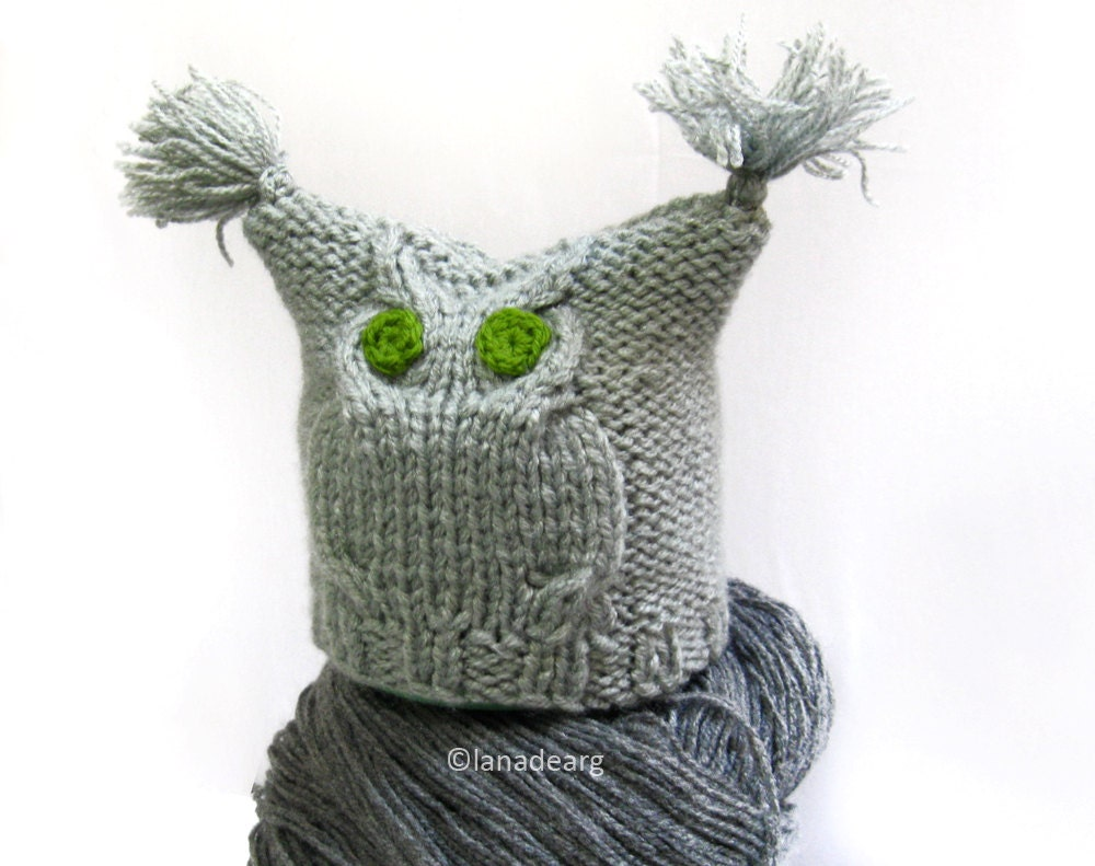Knitting Pattern Owl Beanie : Knitted Hat Patterns Owl Hat Baby Hat Knitting Pattern Baby
