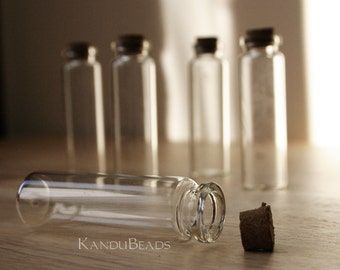 12 Medium Glass Jars with Cork, Glass Vile, Small Bottle 20x75mm