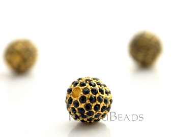 Gaga Gold and Black Rhinestone Pave Bead Bright Gold Color Zinc 12mm ONE Bead