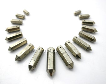"Pyrite Graduated points, Long Faceted Crystal Point, Pencil Shape, Beads 5x17mm - 8x40 15"" Aprox 15 beads"