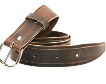Distressed Brown Leather Belt - Men's Leather Belt - Rugged Belt