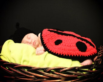 Newborn Photo Props - Crochet Gifts - Ladybug Crochet