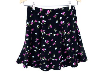 80s Vintage Floral Skirt Ditzy Floral on Black Partial elastic waist, LIA Summer Mini Easy fit S small