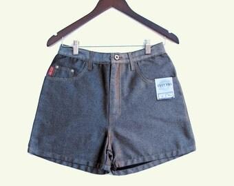 Hipster Shorts Black Silver Gray Shimmer Shorts NOS C'est Toi Denim W 28 29