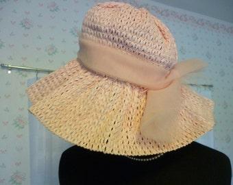 SALE Pink Raffia Floppy Hat, Girls Size, Junior Bridesmaid, Flower Girl, Small