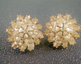 Vintage Crown Trifari Rhinestone Earrings Crystal Clear
