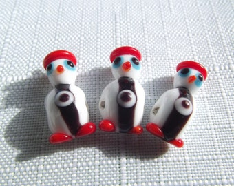 3 PCS  Penguin 21x9mm Handmade Lampwork glass beads ...You may contact us for wholesale.