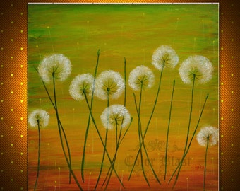 Original Painting- Textured Contemporary Abstract Modern Fine Art Landscape Floral Painting. SUMMER DANDELIONS- Free Shipping inside US.